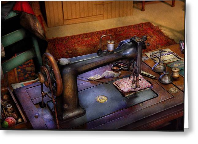 Sewing Machine - Sewing Project Greeting Card by Mike Savad