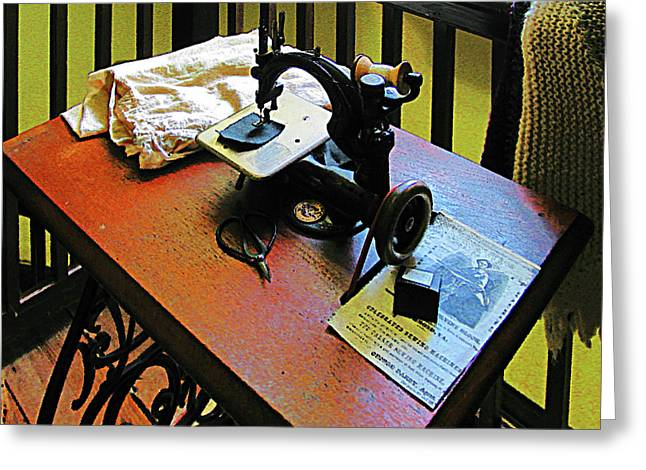 Sewing Machine With Cloth Greeting Card by Susan Savad