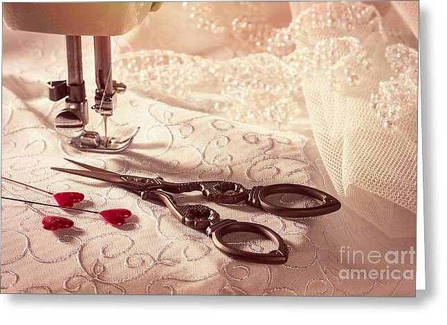 Sewing Scissors With Heart Shaped Pins Greeting Card by Amanda Elwell