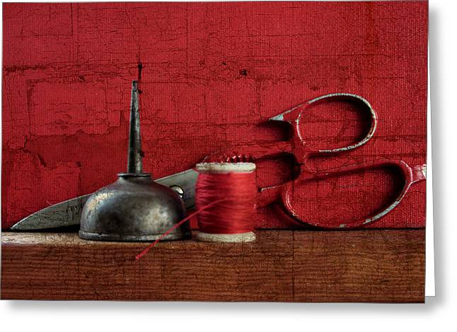 Sewing Steel Greeting Card by Toni Hopper