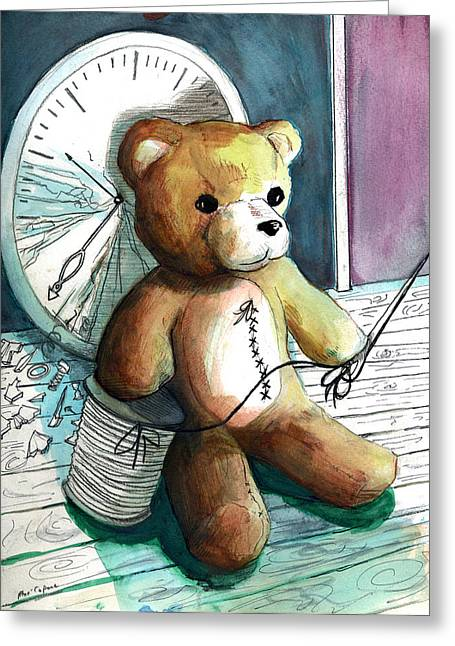 Sewn Up Teddy Bear Greeting Card