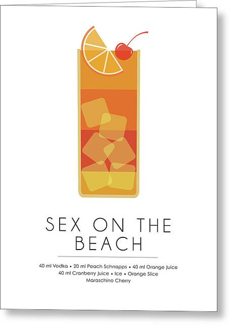 Sex On The Beach Classic Cocktail - Minimalist Print Greeting Card