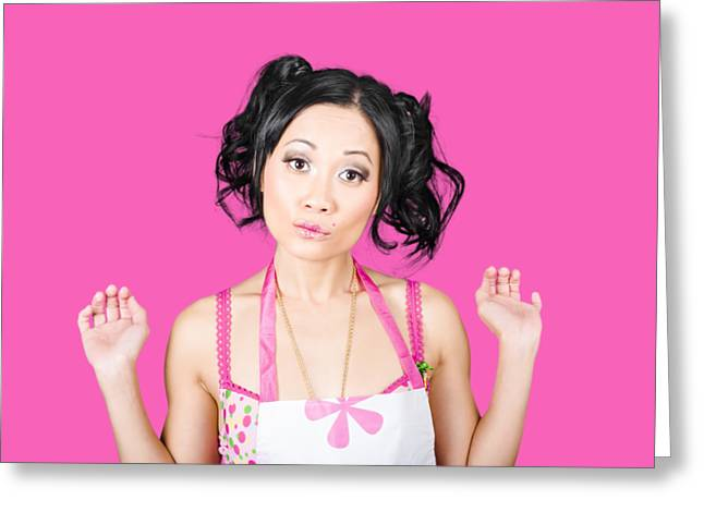 Cute Asian Pinup Woman With Surprised Expression Greeting Card by Jorgo Photography - Wall Art Gallery