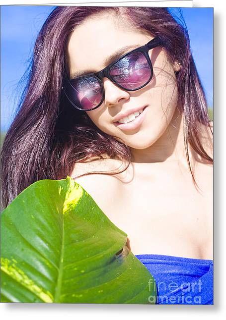 Sexy Beach Girl With Leaf Greeting Card by Jorgo Photography - Wall Art Gallery