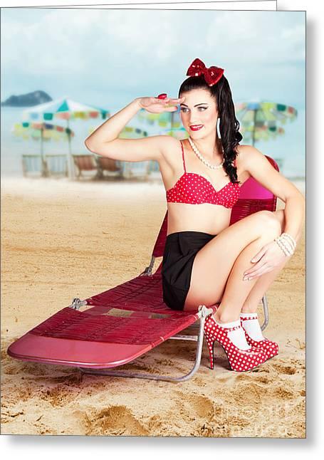 Sexy Beach Pin Up Girl Wearing High Heels Greeting Card by Jorgo Photography - Wall Art Gallery