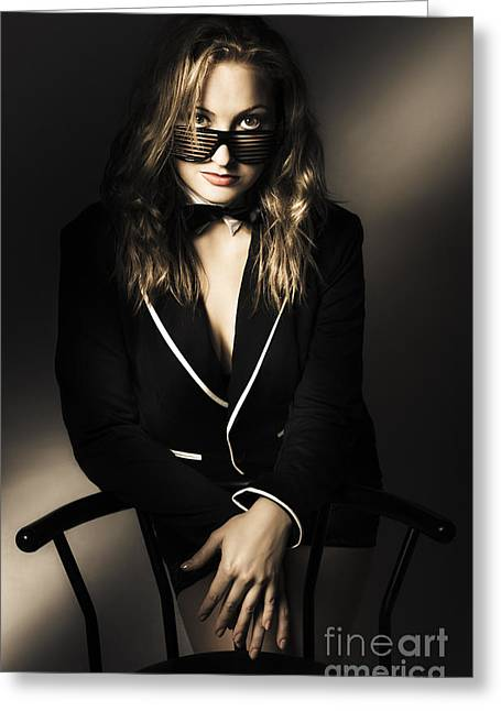 Sexy Blonde Fashion Lady Posing In Dark Shadows Greeting Card by Jorgo Photography - Wall Art Gallery