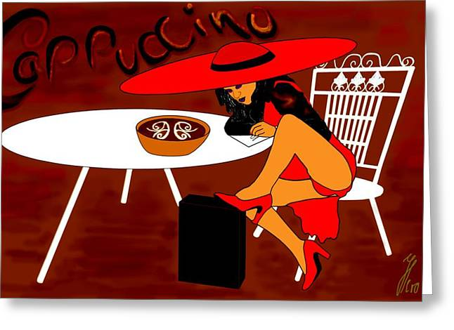 Sexy Cappuccino Greeting Card by Helmut Rottler