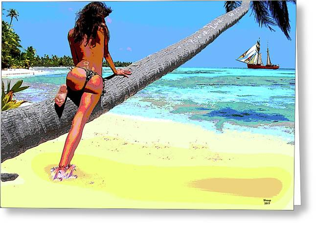 Sexy Lady At The Beach Greeting Card by Charles Shoup