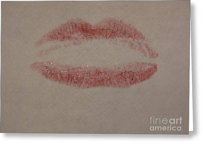 Sexy Lips Kissed Canvas Greeting Card