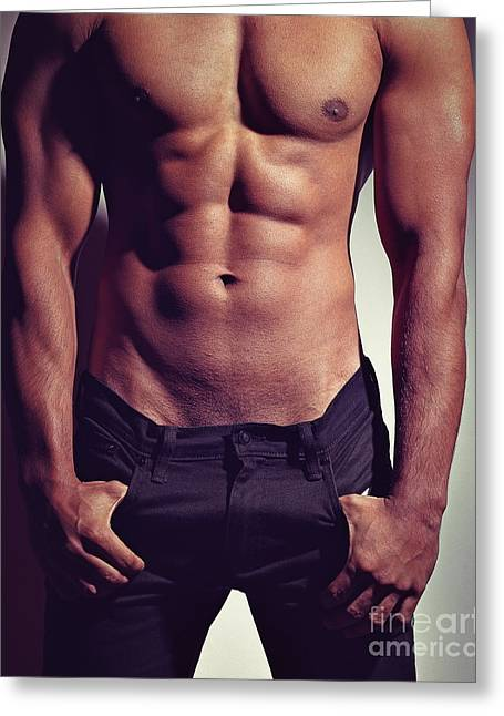 Sexy Male Muscular Body Greeting Card