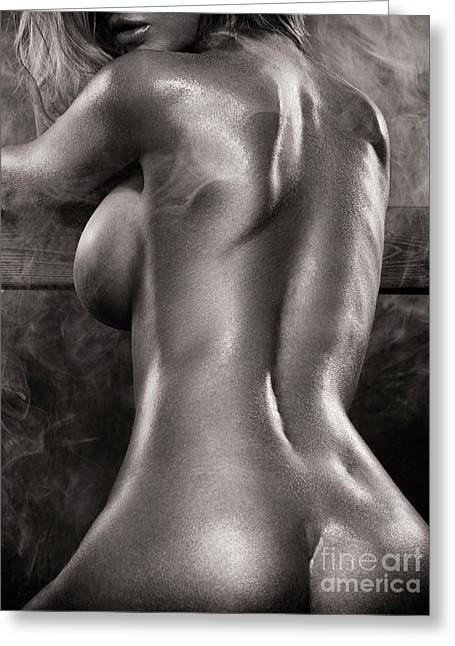 Sexy Nude Woman In Steam Room Naked Back Artistic Black And Whit Greeting Card