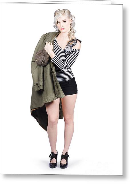 Sexy Pin-up Aviator Girl Isolated On White Greeting Card