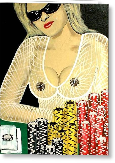 Sexy Poker Girl Greeting Card by Teo Alfonso