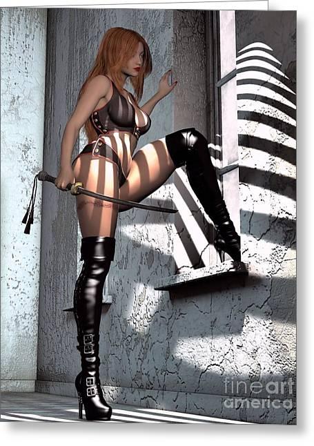 Sexy Samurai Girl By Window Greeting Card by Brian Raggatt