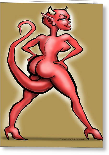Sexy She Devil Greeting Card by Kevin Middleton