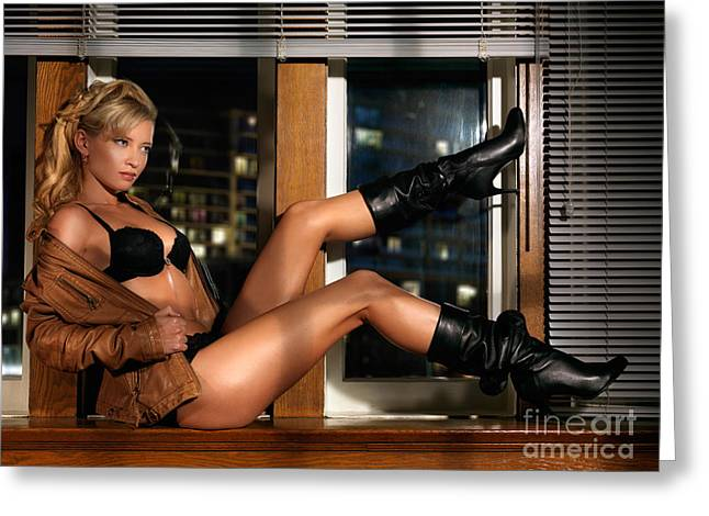 Sexy Woman In Lingerie Sitting On A Window Sill Greeting Card by Oleksiy Maksymenko