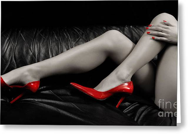 Sexy Woman Legs In Red High Heels Greeting Card by MaximImages