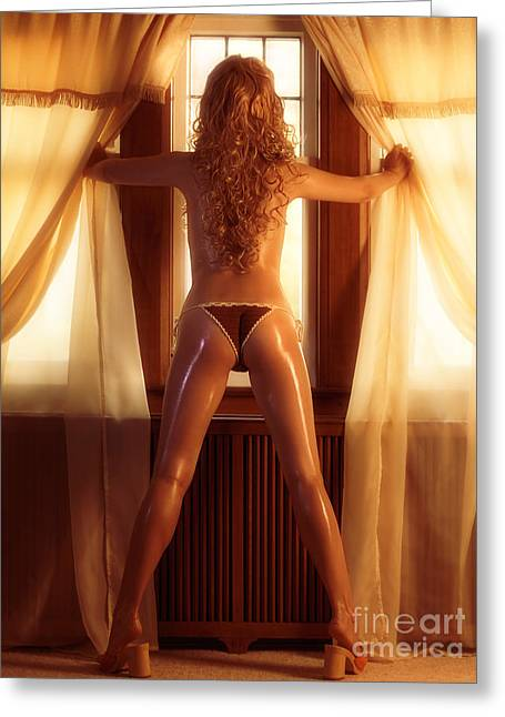 Sexy Woman Standing At A Window Greeting Card