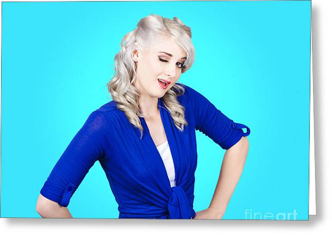 Sexy Woman Winking Eye On Pin-up Blue Background Greeting Card by Jorgo Photography - Wall Art Gallery