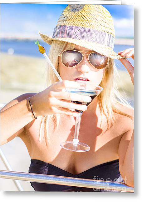 Sexy Woman With Cocktail Greeting Card by Jorgo Photography - Wall Art Gallery