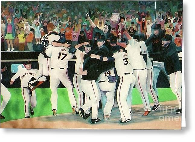 Sf Giants 2010 World Series Championship Celebration Greeting Card by Pete  TSouvas