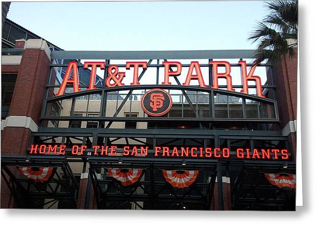 Sf Giants Stadium Greeting Card by Kathleen Fitzpatrick