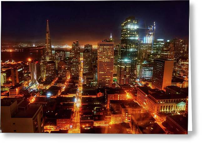 Greeting Card featuring the photograph Sf Gotham City by Peter Thoeny