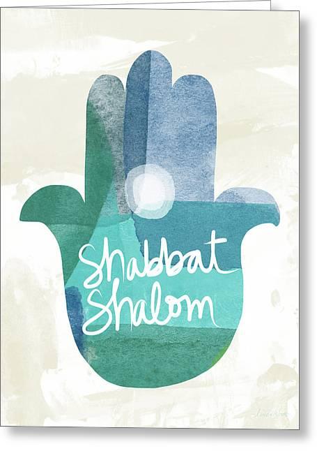Shabbat Shalom Hamsa- Art By Linda Woods Greeting Card