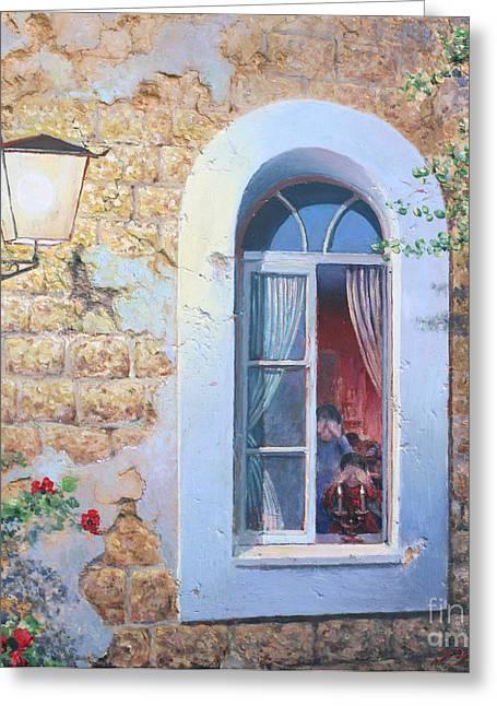 Shabbat Shalom Greeting Card by Miki Karni