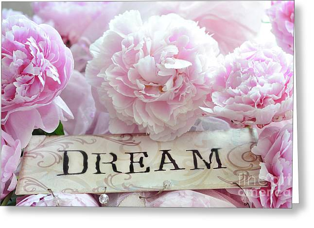 Shabby Chic Cottage Dreamy Pink Peonies - Pink Peony Prints Greeting Card