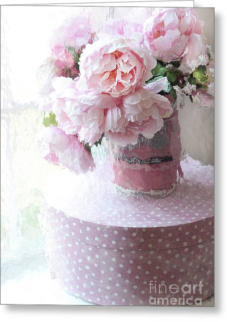 Shabby Chic Cottage Garden Pink Impressionistic Peonies - Romantic Pink Peonies Vintage Sugar Bucket Greeting Card by Kathy Fornal