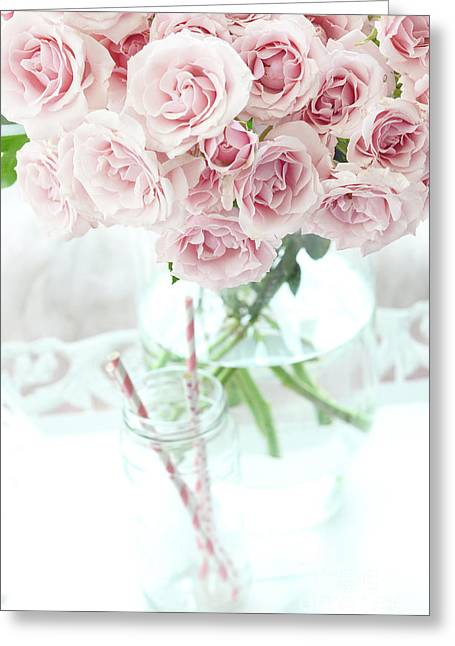Shabby Chic Cottage Pastel Pink Roses In Clear Vase - Romantic Pink Roses Cottage Garden Decor Greeting Card