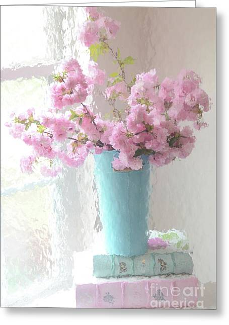 Shabby Chic Cottage Pink Blossoms - Impressionistic Shabby Chic Dreamy Pink Blossoms Floral Fine Art Greeting Card by Kathy Fornal