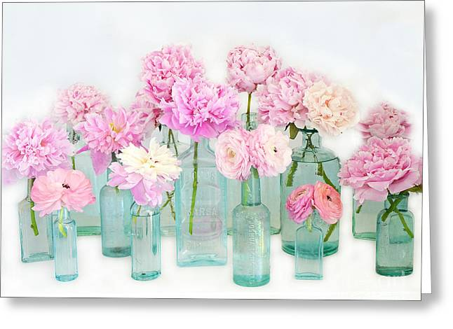 Shabby Chic Cottage Pink Peonies In Mason Jars - Summer Garden Peonies In Vintage Aqua Bottles Greeting Card by Kathy Fornal