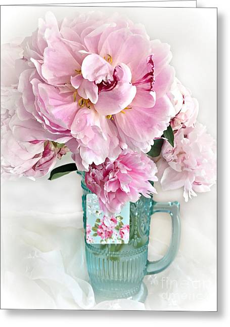 Shabby Chic Cottage Pink Peonies Peony Flower Print - Romantic Cottage Pink Aqua Peonies In Vase Greeting Card