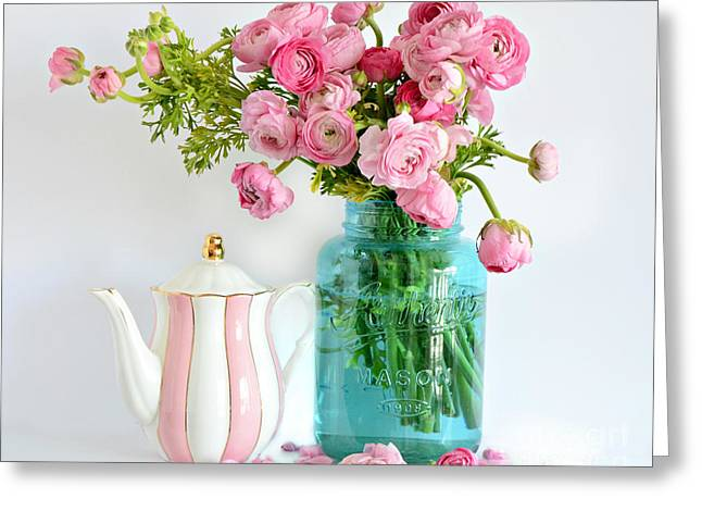 Shabby Chic Cottage Ranunculus Roses Peonies Pink Aqua Cottage Floral Prints Home Decor  Greeting Card by Kathy Fornal