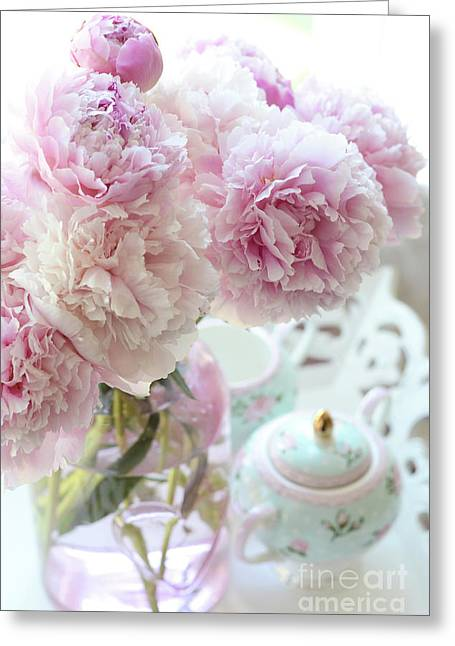 Shabby Chic Cottage Romantic Pink Aqua Peonies - Dreamy Peonies Decor Greeting Card