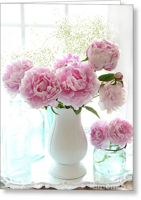 Shabby Chic Cottage Romantic Pink White Peonies In Window - Romantic Peonies Decor  Greeting Card