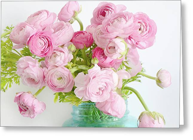Shabby Chic Cottage Spring Summer Flowers - Ranunculus Roses Peonies Ethereal Dreamy Floral Prints Greeting Card