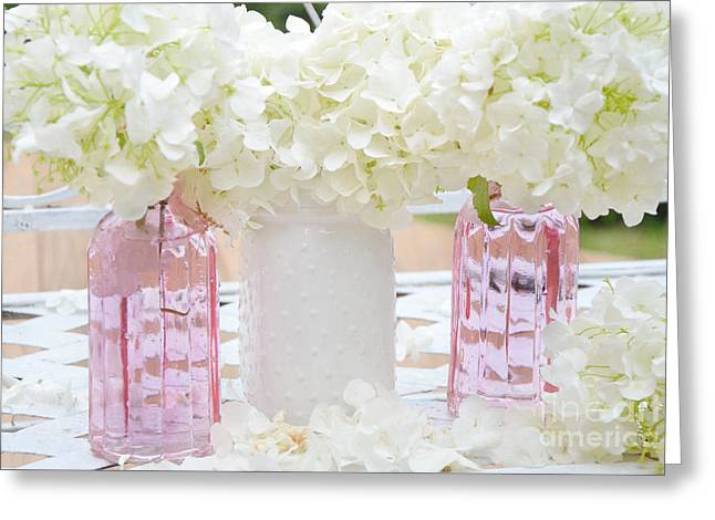 Shabby Chic Cottage White Hydrangeas Pink And White Jars - Romantic White Hydrangeas Floral Art Greeting Card