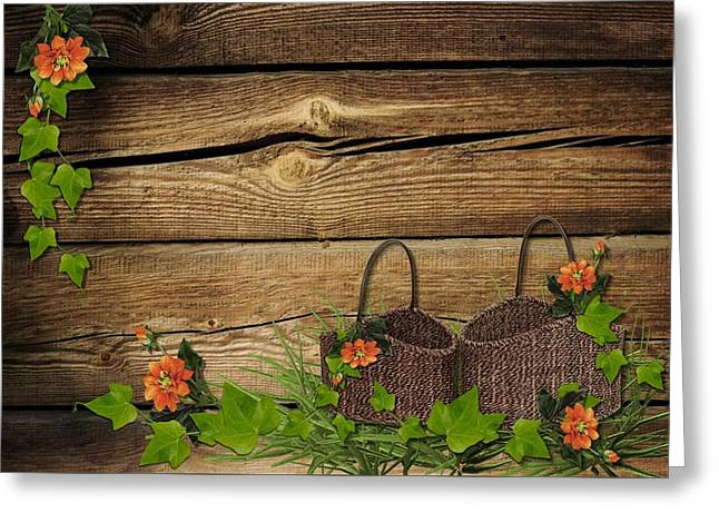Shabby Chic Flowers In Rustic Basket Greeting Card