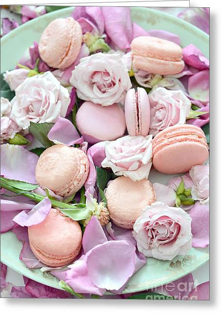 Shabby Chic French Pastel Pink Macarons Pink Roses Romantic Roses Macarons Greeting Card by Kathy Fornal