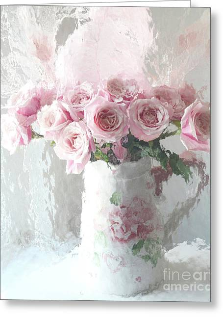 Shabby Chic Impressionistic Romantic Pink Roses In Vase - Pink And White Romantic Roses Decor Greeting Card by Kathy Fornal