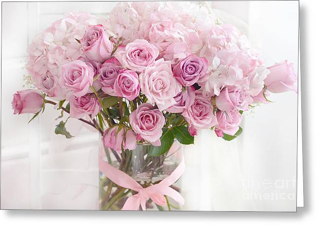 Shabby Chic Pastel Bouquet Of Pink Roses - Cottage Romantic Pink Roses Floral Decor Greeting Card