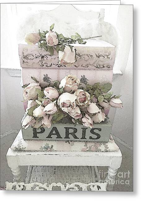 Shabby Chic Pastel Paris Books And Roses - Paris Watercolor Roses Greeting Card