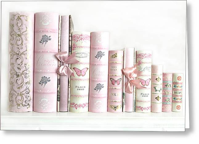 Shabby Chic Pink Books Collection - Paris Pink Books Art Prints Home Decor Greeting Card by Kathy Fornal