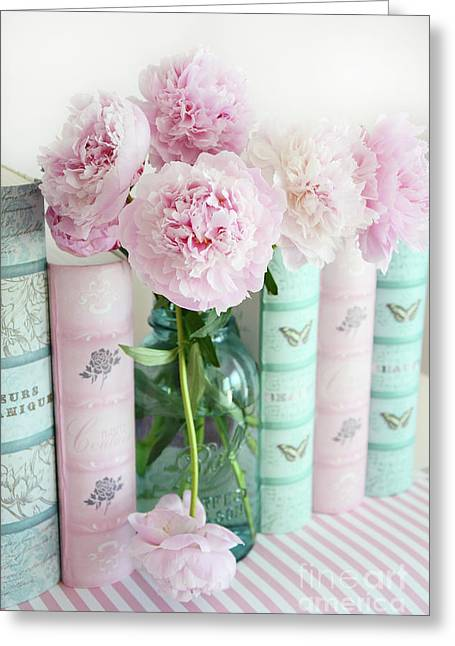 Shabby Chic Pink Peonies Books Print - Shabby Chic Peonies Aqua Pink Books Wall Art Home Decor  Greeting Card