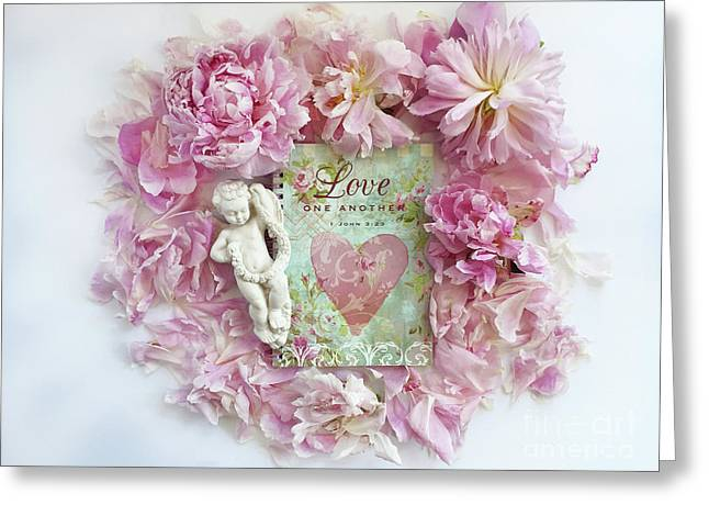 Shabby Chic Pink Peonies Inspirational Love Heart Print - Romantic Pink Peonies Home Decor Greeting Card