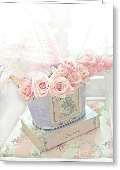 Dreamy Pink Fantasy Art Greeting Cards - Shabby Chic Pink Roses On Paris Books - Romantic Dreamy Floral Roses In Bucket Greeting Card by Kathy Fornal
