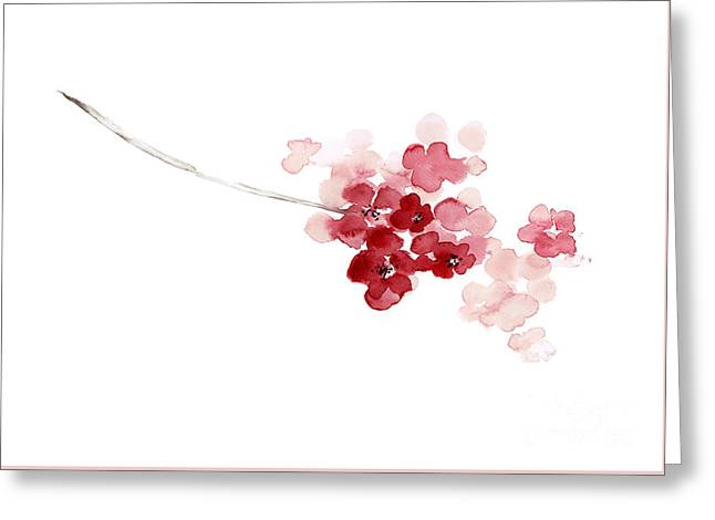 Cherry Blossom Abstract Flower, Shabby Chic Pink Watercolor Painting, Baby Girl Nursery Decor Greeting Card